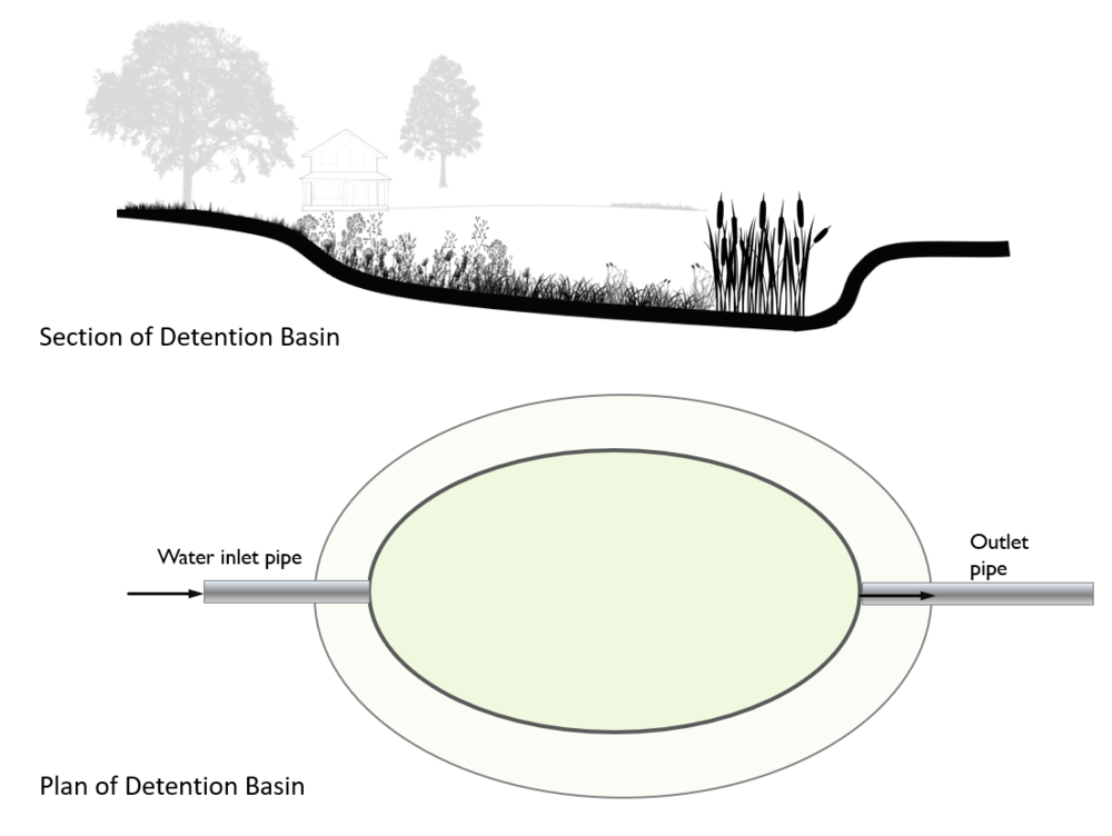 Figure 3. Diagram of a stormwater basin and vegetation. The top figure is an example of a cross-section of a basin, and the bottom figure shows the overall design.