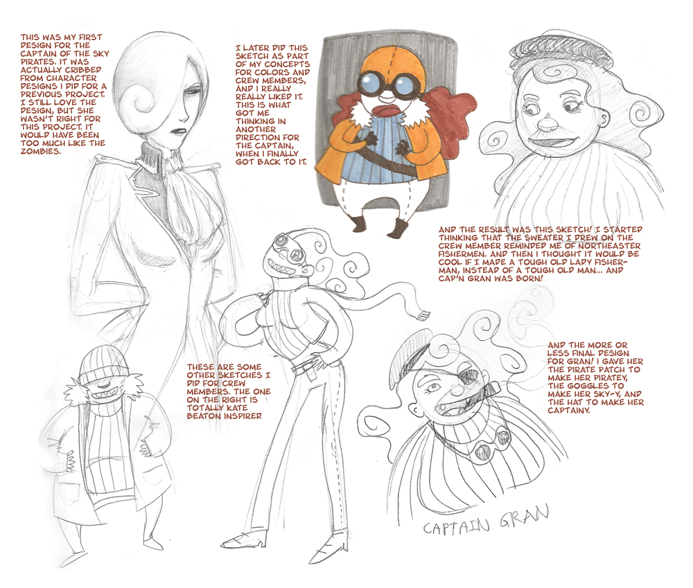 Process of Concept Sketches for Cap'n Gran