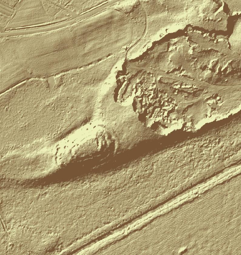 Atašienes pilskalna attēlojums LIDAR modelī.
