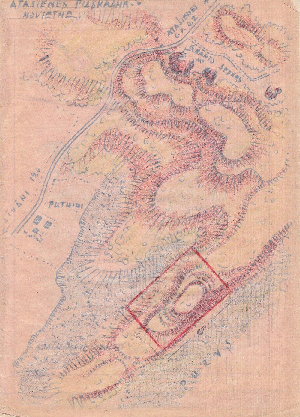 Atašienes pilskalns un tā apkārtne 1951.gadā. A.Štokmaņa skice.