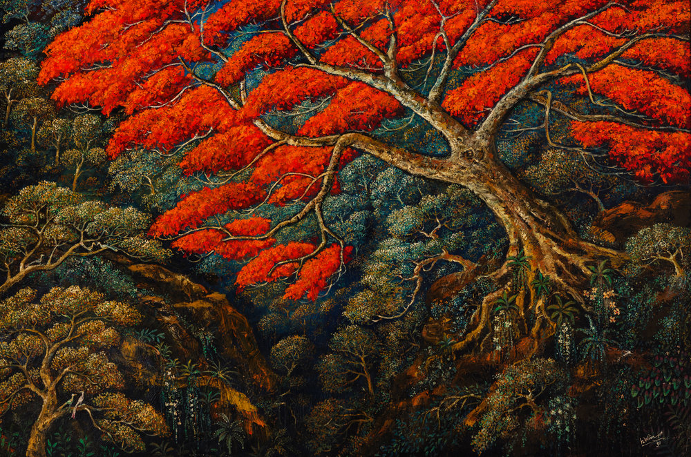 Pohon Flamboyan,  1991 oil on canvas H.Widayat  client: Cedric Edwin Pinto