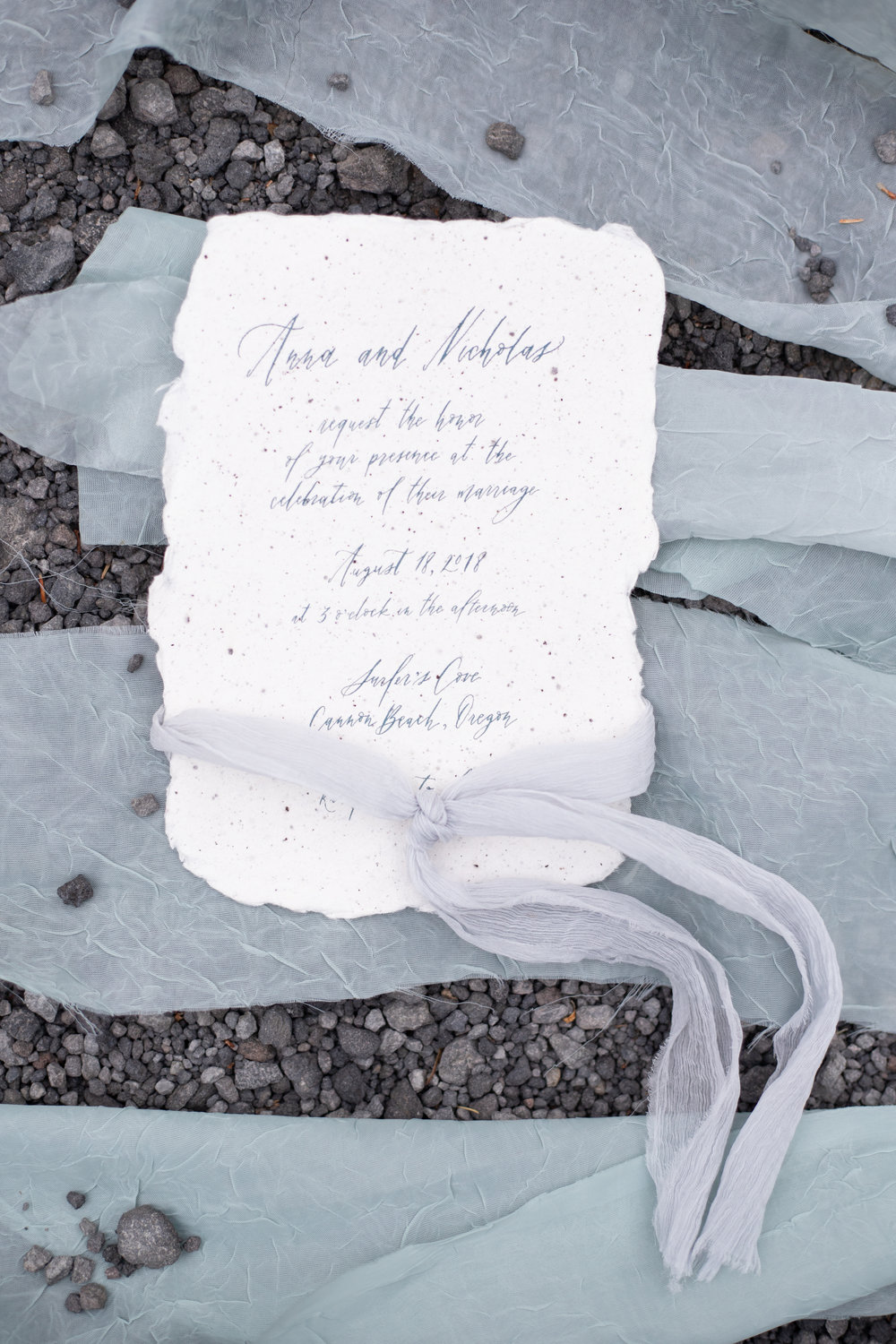 Ethereal fine art calligraphy wedding invitations by Caitlin O'Bryant Design, printed on handmade paper. Photo by Ashley Marie Photography