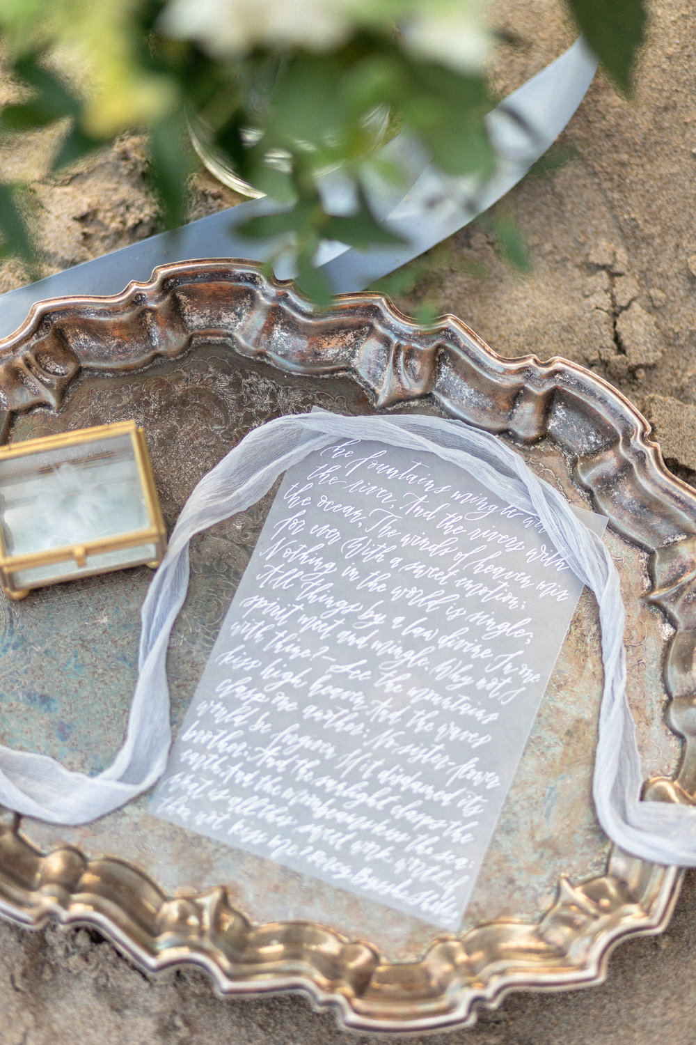 Ethereal fine art custom calligraphy wedding invitations by Caitlin O'Bryant Design. Photo by Ashley Marie Photography