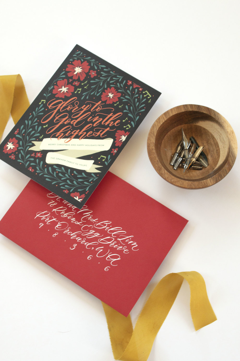 Glory to God in the Highest Illustrated Calligraphy Christmas Card by Caitlin O'Bryant Design