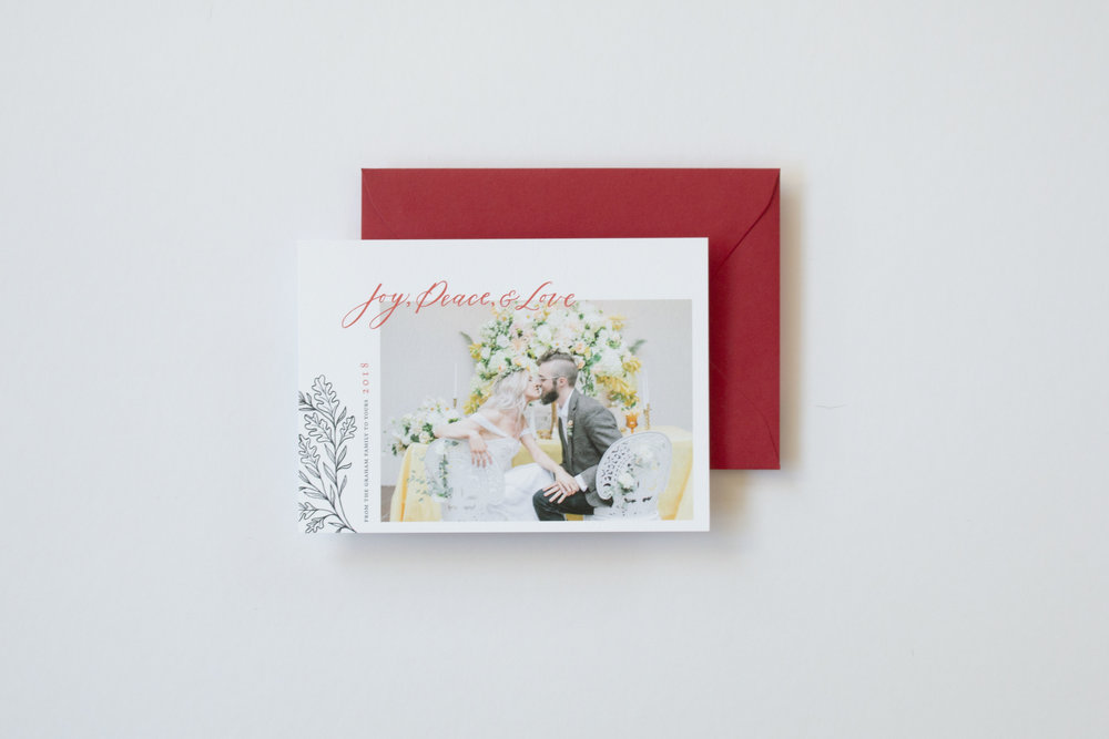 Joy, Peace, and Love Photo Holiday and Christmas Card by Caitlin O'Bryant Design. Sample photo by Kirsten Wilson Photography.