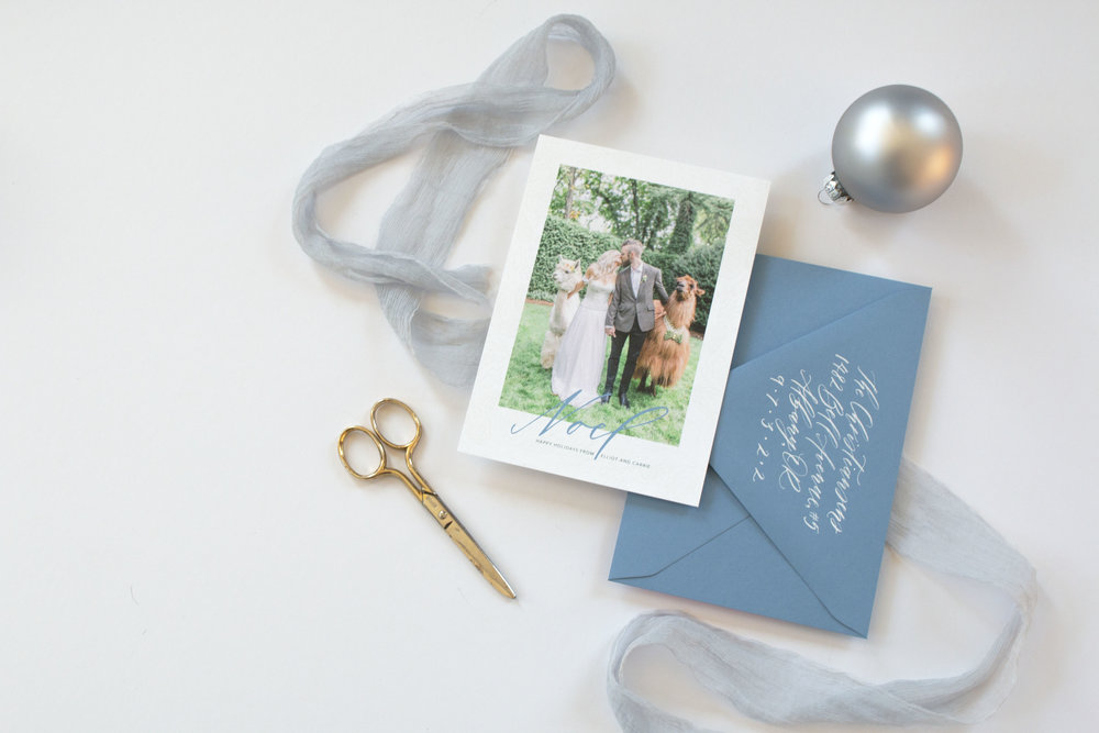 Noel Photo Holiday and Christmas Card by Caitlin O'Bryant Design. Sample photo by Kirsten Wilson Photography.