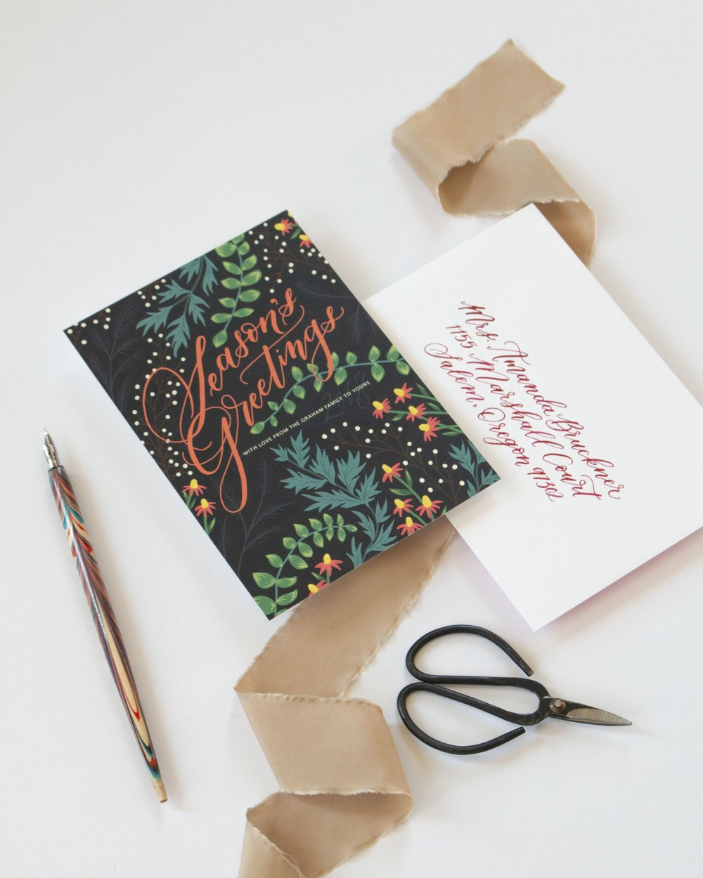 Season's Greetings Illustrated Calligraphy Christmas Card by Caitlin O'Bryant Design