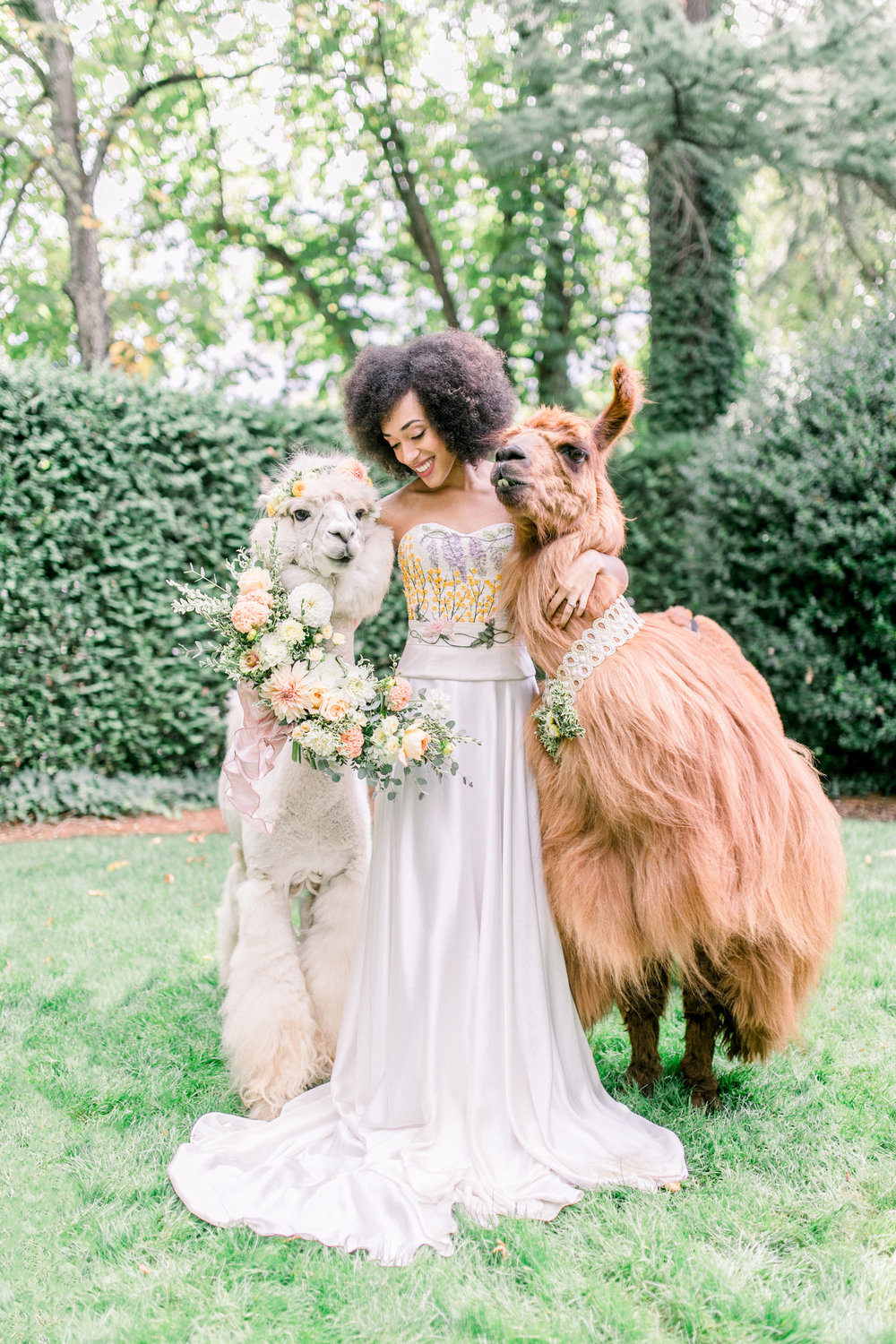 Whimsical Garden Wedding with Llamas. Photo by Kirsten Wilson Photography. Host: Styled Shoots Across America