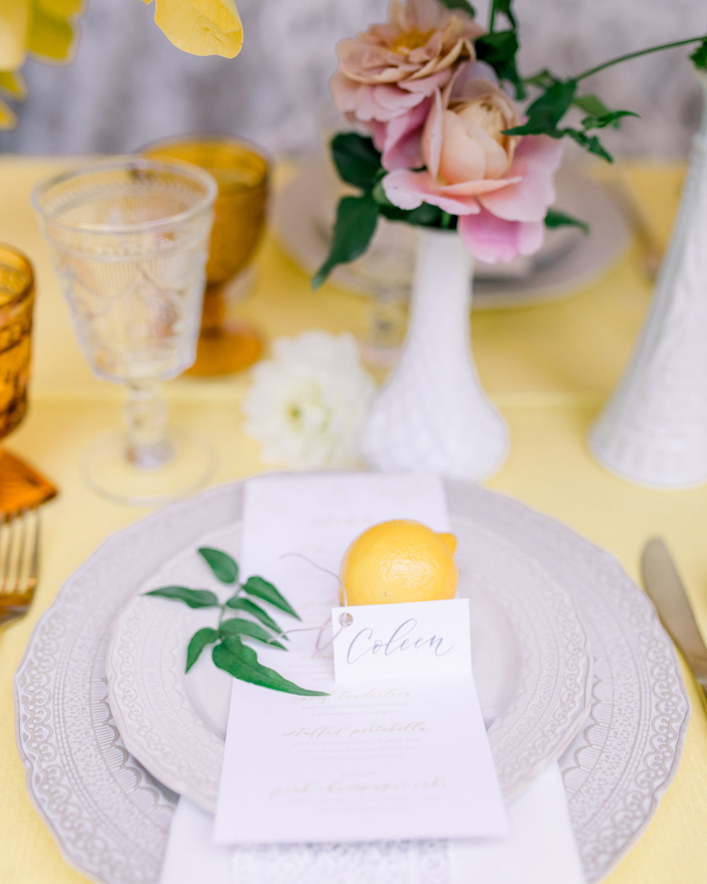 Whimsical Garden Wedding Unique Lemon Place Cards. Photo by Kirsten Wilson Photography. Host: Styled Shoots Across America