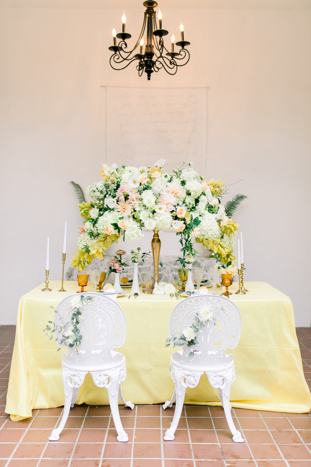 Whimsical Garden Wedding Tablescape and Calligraphy Backdrop. Photo by Kirsten Wilson Photography. Host: Styled Shoots Across America