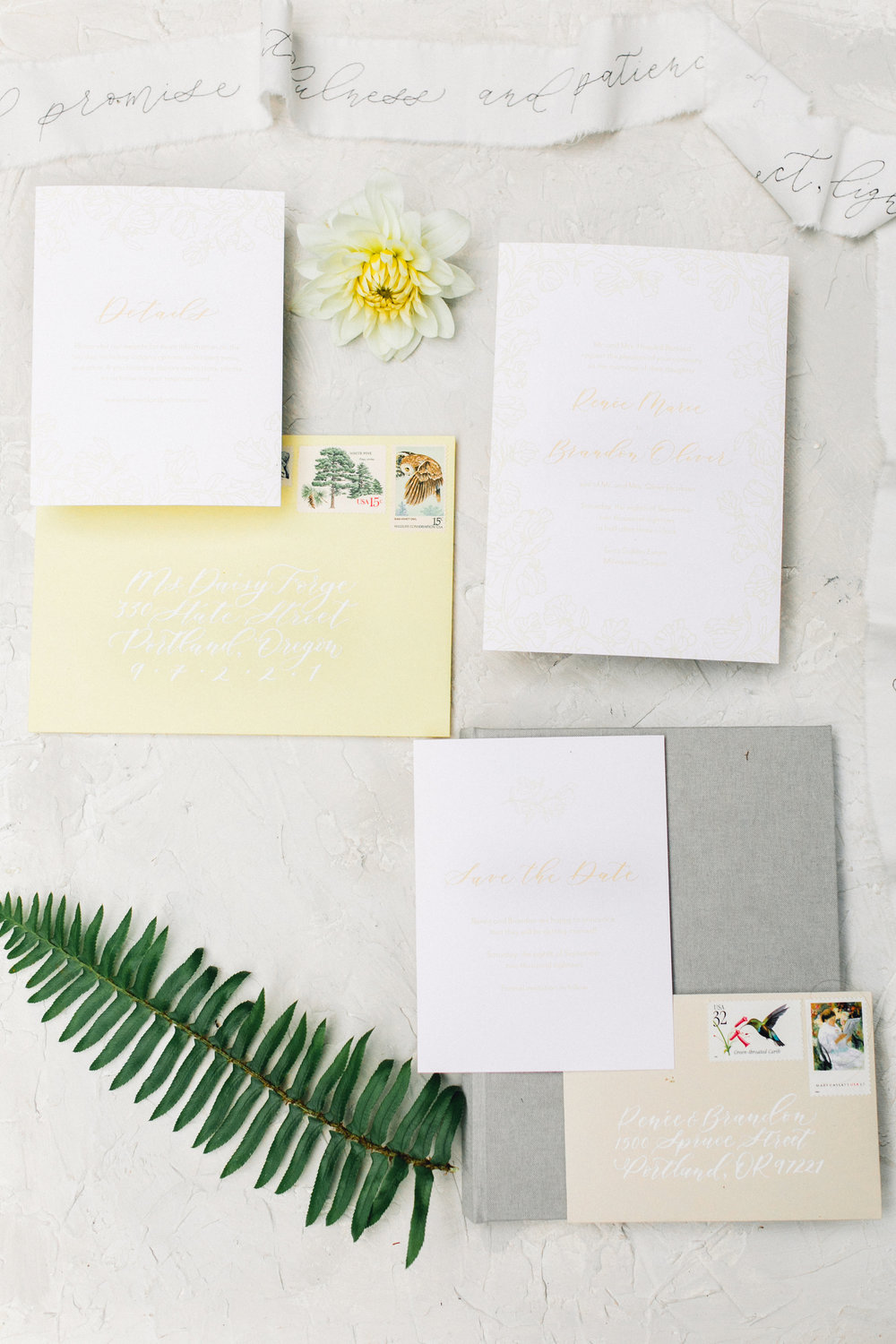 Whimsical Yellow Garden Wedding Stationery. Photo by Kirsten Wilson Photography. Host: Styled Shoots Across America