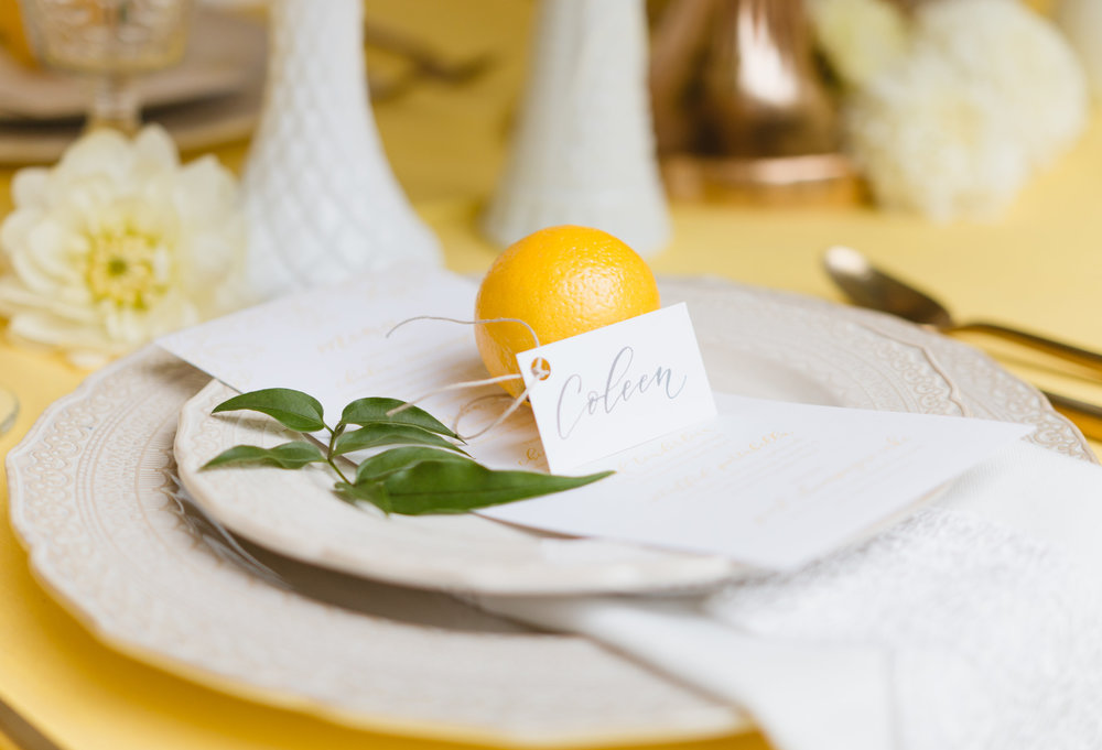 Whimsical Garden Wedding Unique Lemon Place Cards. Photo by Mrs. Madeleine Photography. Host: Styled Shoots Across America