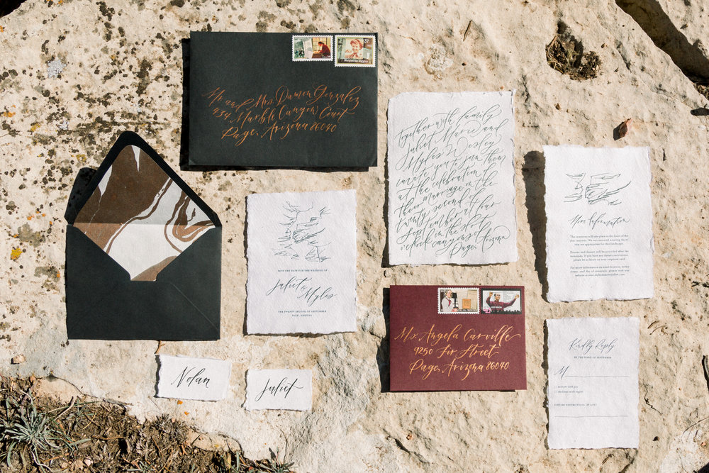 Handwritten Custom Calligraphy Invitations and Save the Dates by Caitlin O'Bryant Design. Photo by Jordyn Vixie Photography. Boho-chic, down to earth, dark and moody, ethereal calligraphy, warm