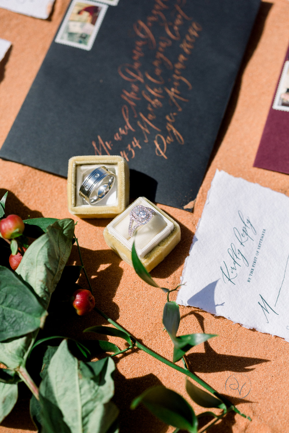 Handwritten Custom Calligraphy Invitations by Caitlin O'Bryant Design. Photo by Jordyn Vixie Photography. Boho-chic, down to earth, dark and moody, ethereal calligraphy, warm