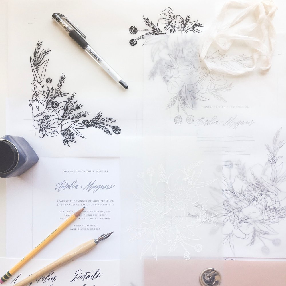 Customization options for our semi-custom wedding stationery collection. Caitlin O'Bryant Design fine art wedding invitations and calligraphy