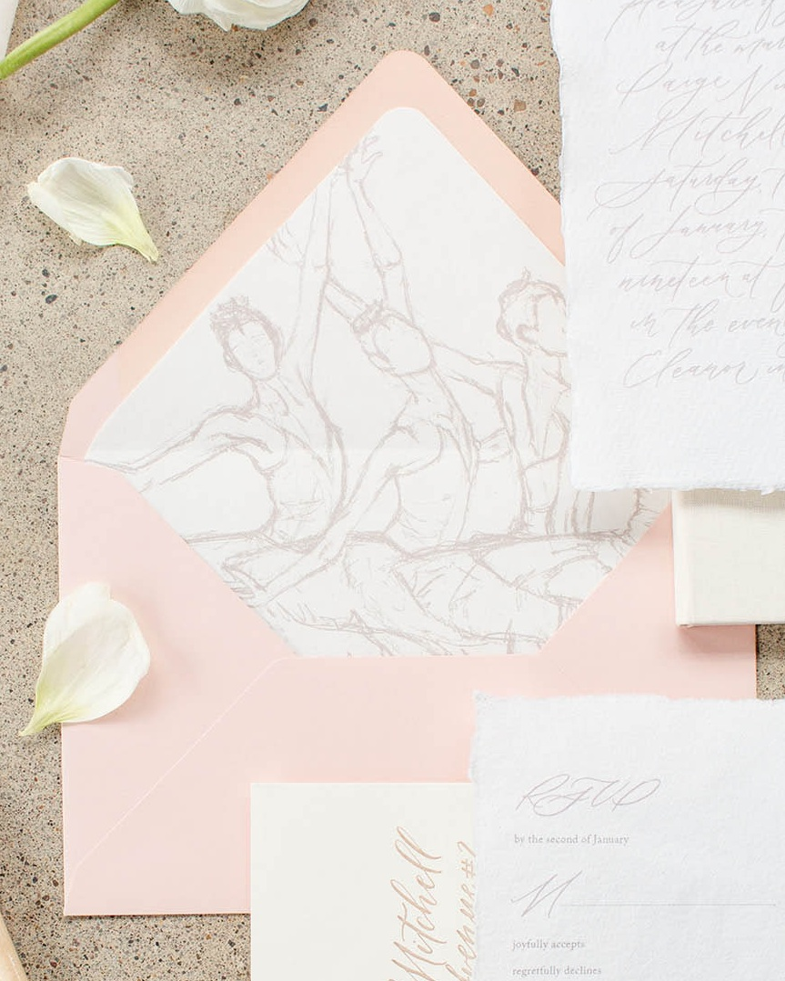 Custom illustrated envelope liners for bespoke fine art wedding stationery. By Caitlin O'Bryant Design. Photo by Kelby Maria Photography. Planning: Peachy Keen Coordination. Venue: The Eleanor