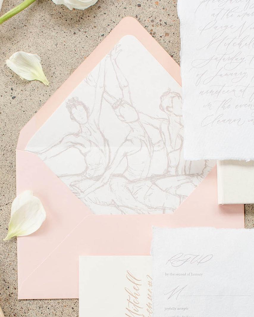 Custom illustrated envelope liner