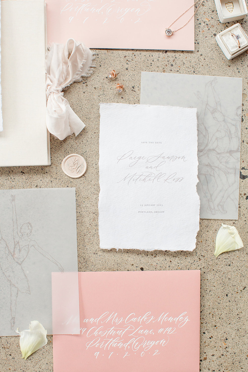 Romantic fine art wedding stationery, inspired by the poise and movement of ballet. Calligraphy and Stationery by Caitlin O'Bryant Design. Photo: Kelby Maria Photography. Planning: Peachy Keen Coordination