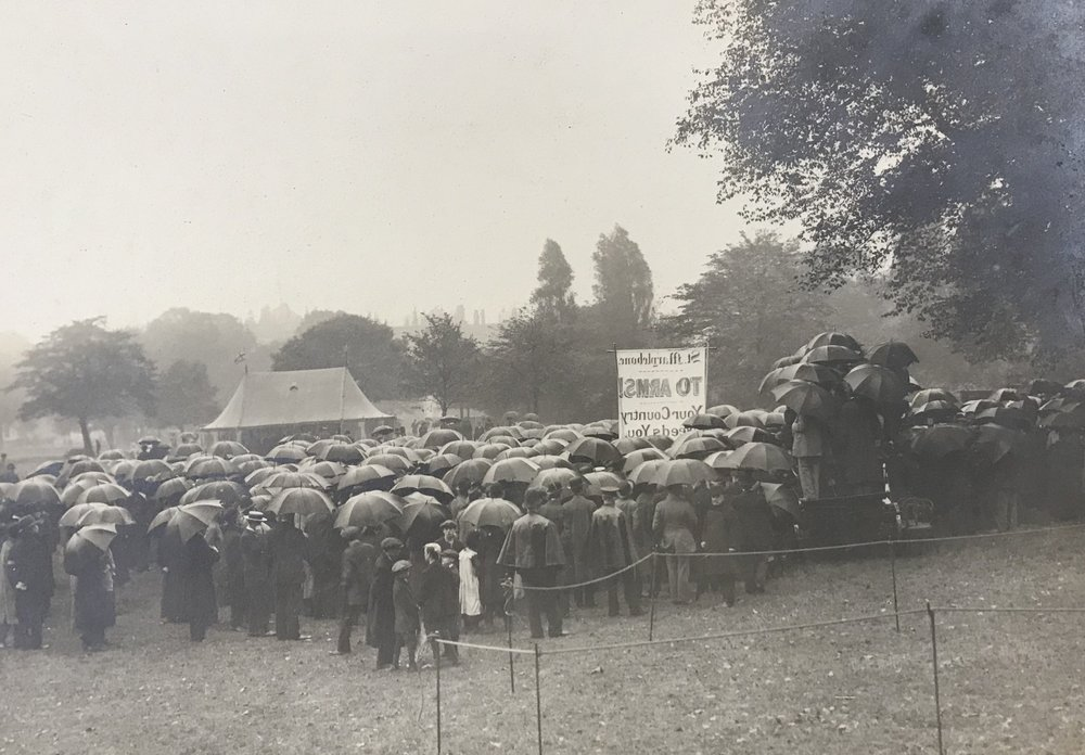 Recruiting the men of Marylebone on a rainy day in Regents Park, 1914.