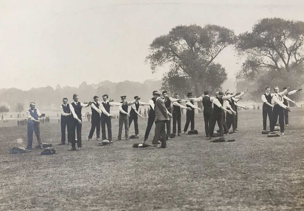 Kitchener's Army in training at Regent's Park, summer 1914.