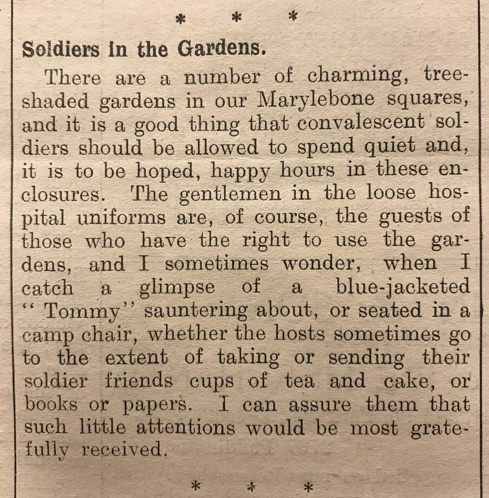 The open gardens were commented on in the Marylebone Record, August 1916.