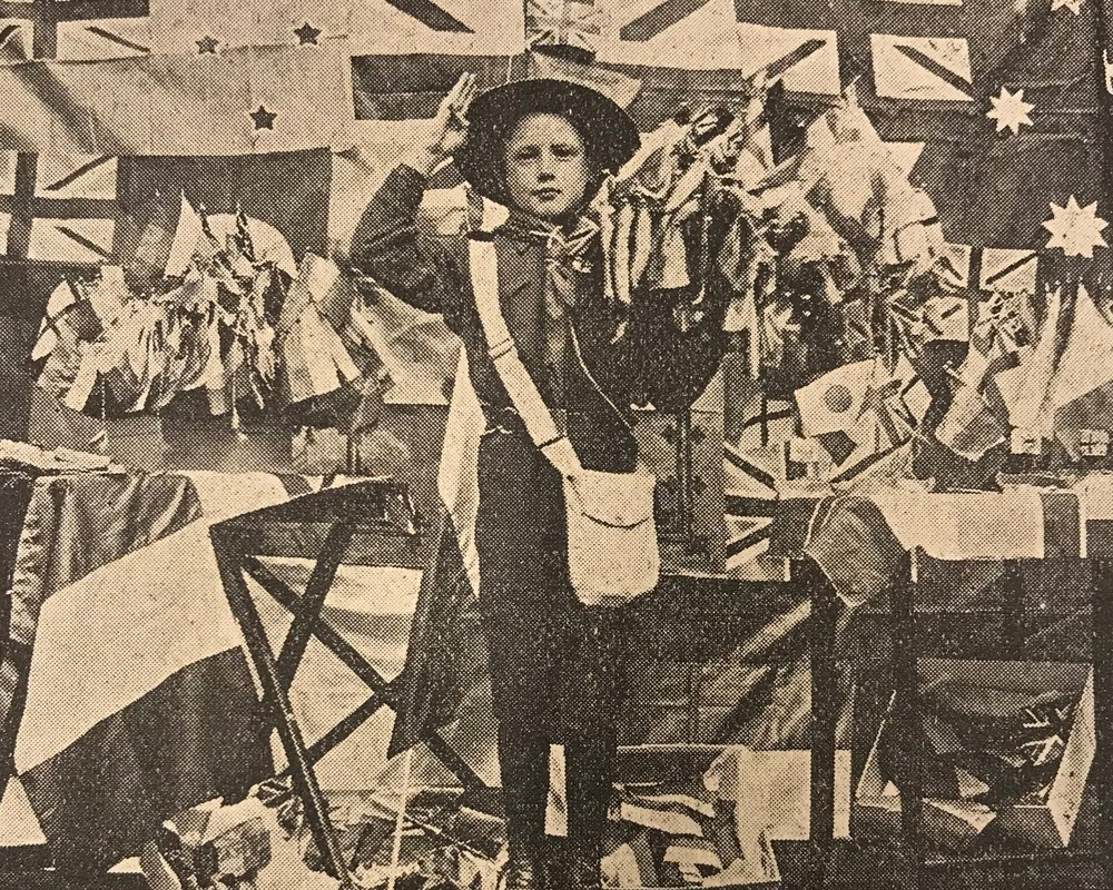 A display of the flags produced at 200 Marylebone Road. From the Marylebone Record.
