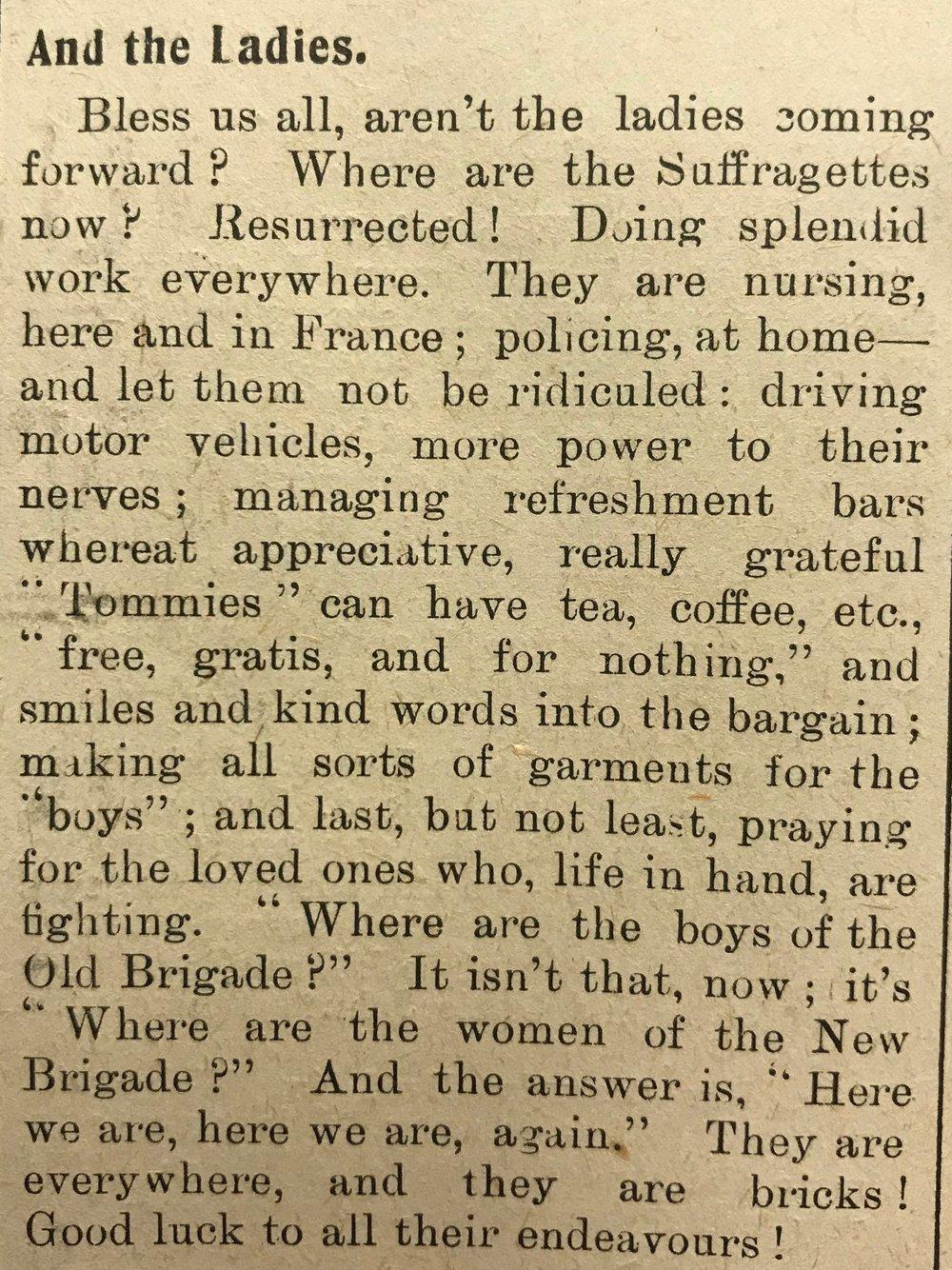 Marylebone Record, 20 March 1915.