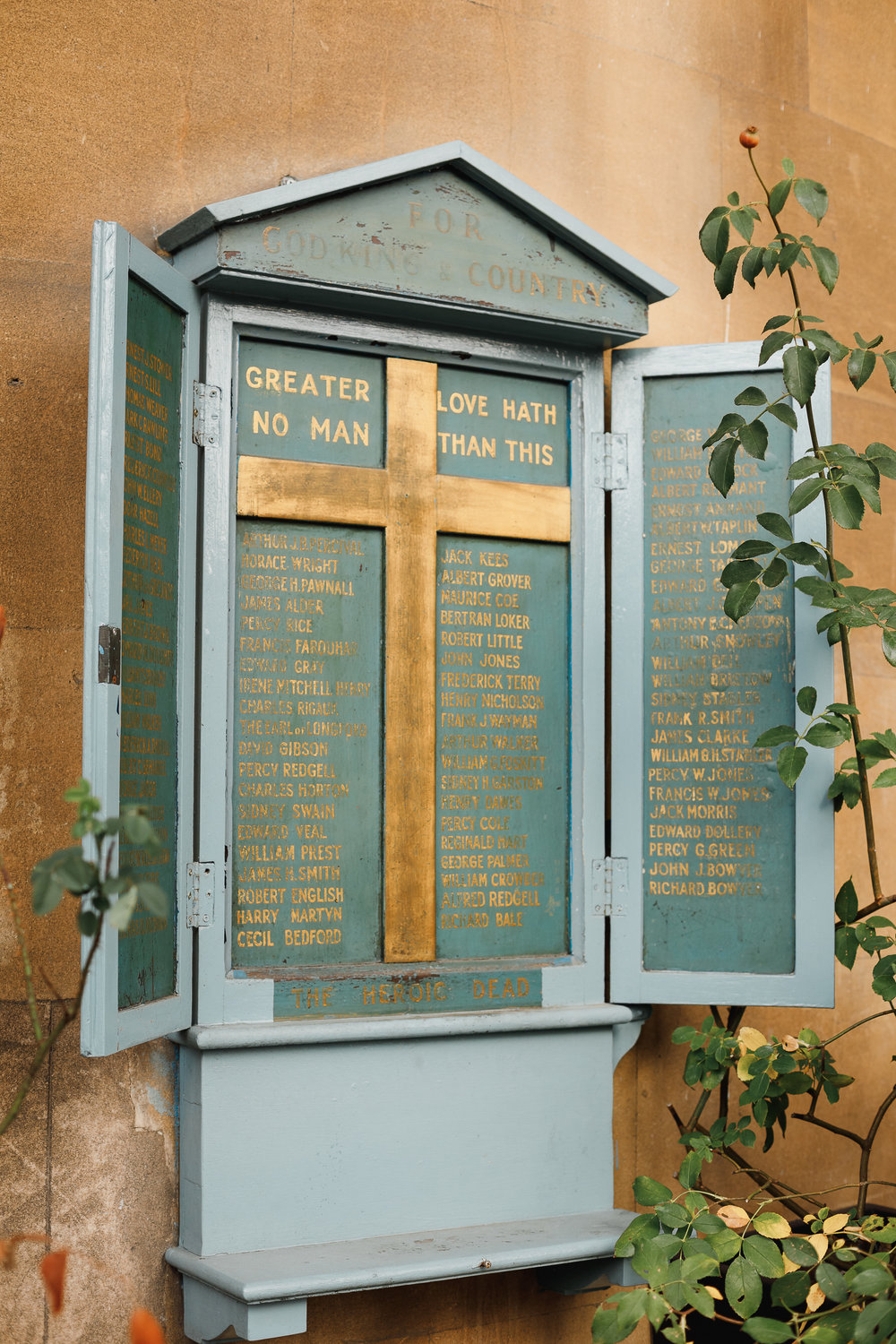 Wooden War Memorial on the outside of St Mary's Church, Bryanston Square.