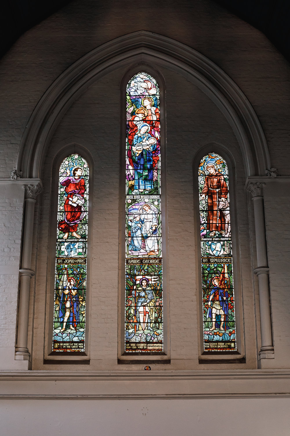 Stained glass window in St Mark's Church on the Old Marylebone Road.