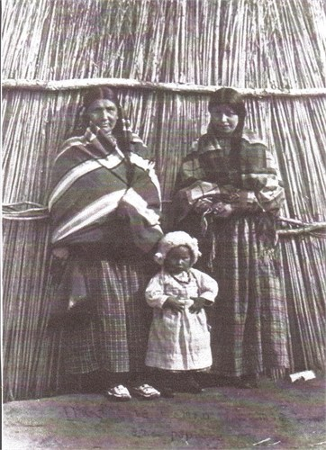 - Three generations of George's ancestry: Naomi Buffalo Woman Fletcher (great, great, great grandmother), Bonhist Medicine Woman Fletcher (great, great grandmother) {both standing in the back}, Mary Todd (great grandmother).