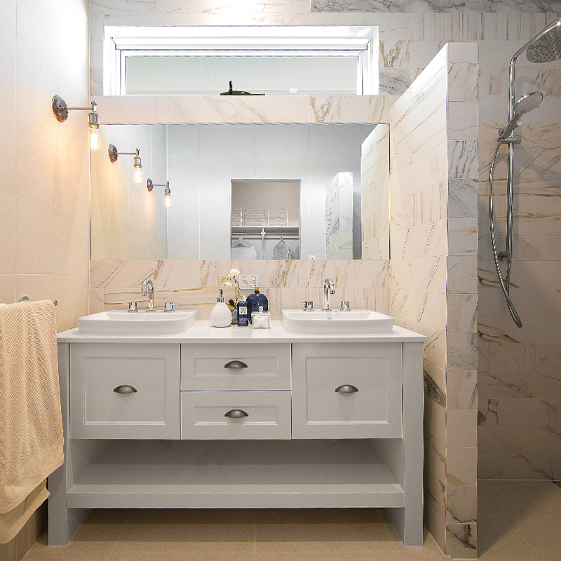 BATHROOMS - Bathrooms are a getaway, it is a space for you to pamper yourself and unwind after a long day. Having the perfect design to suit your everyday needs is paramount for an enjoyable experience. Call us today to design your dream bathroom!