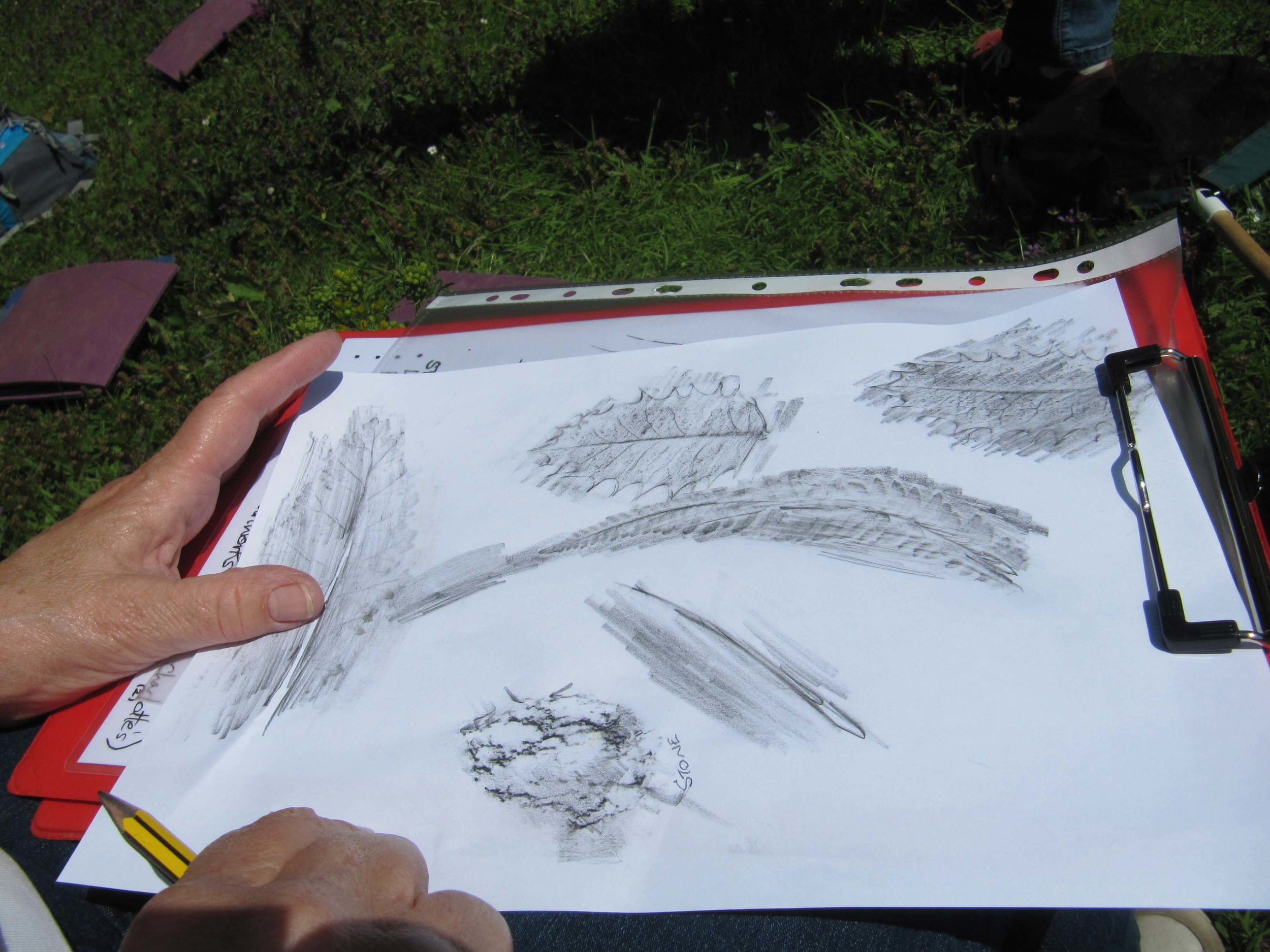 Participant doing rubbings