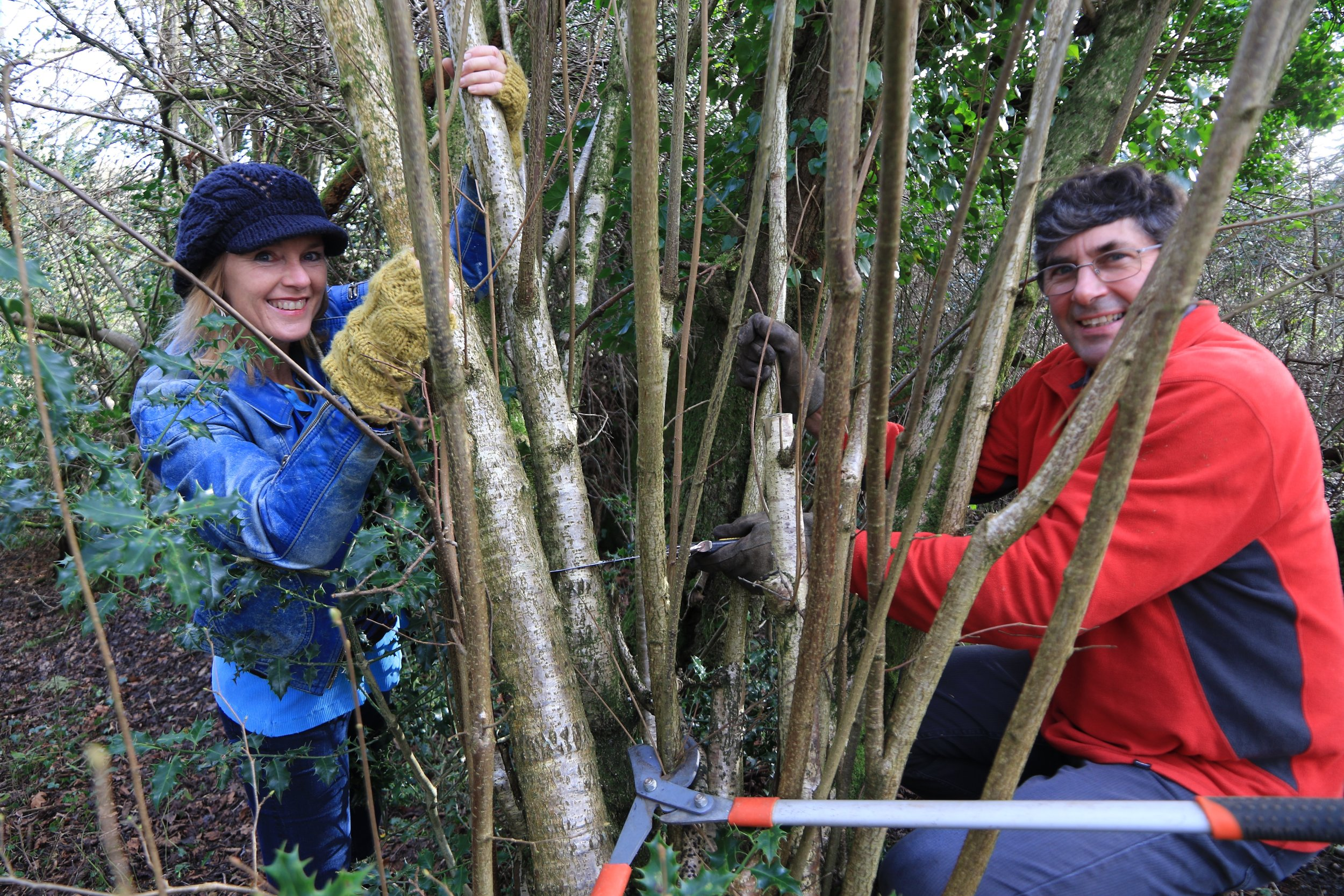 Me & Nick Weaver coppicing hazel for the canopy structure