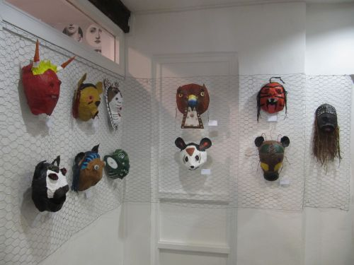 Some of the masks on display at the Young Open. Chuffed that all my students' entries were selected