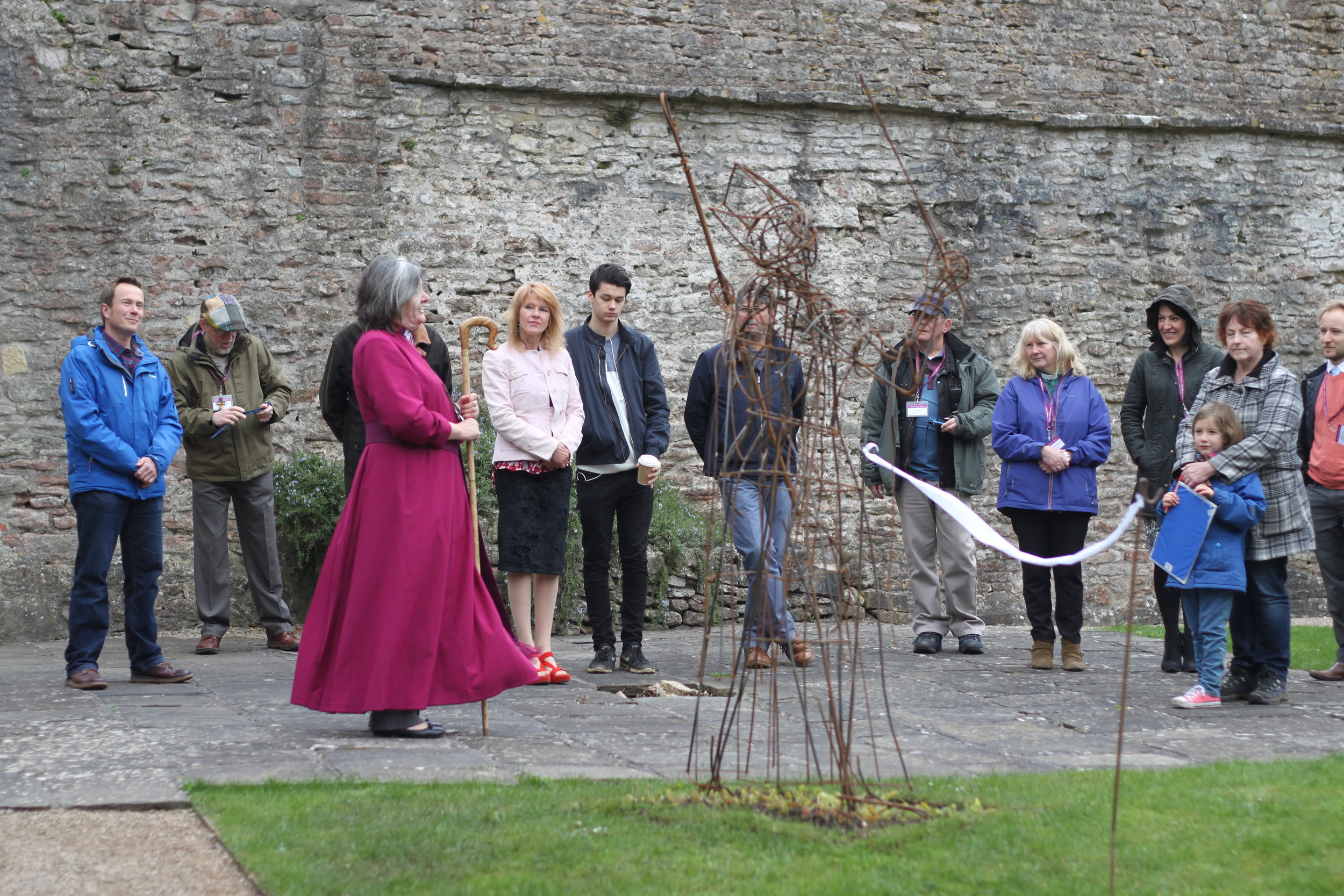 Bishop Ruth of Taunton unveiling the sculpture. Photo by Jonathan Sawyer