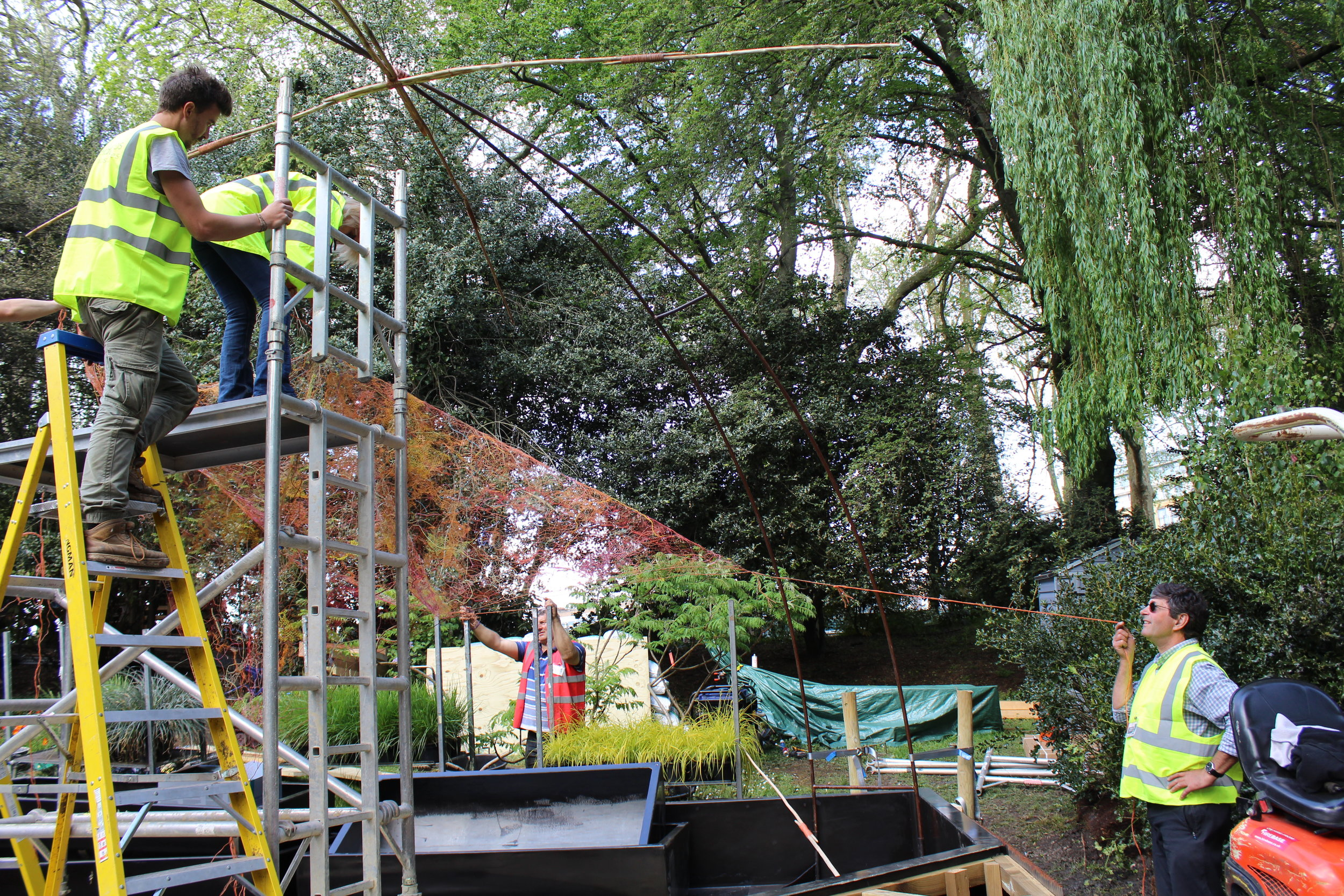 Installing canopy at Chelsea, May 15