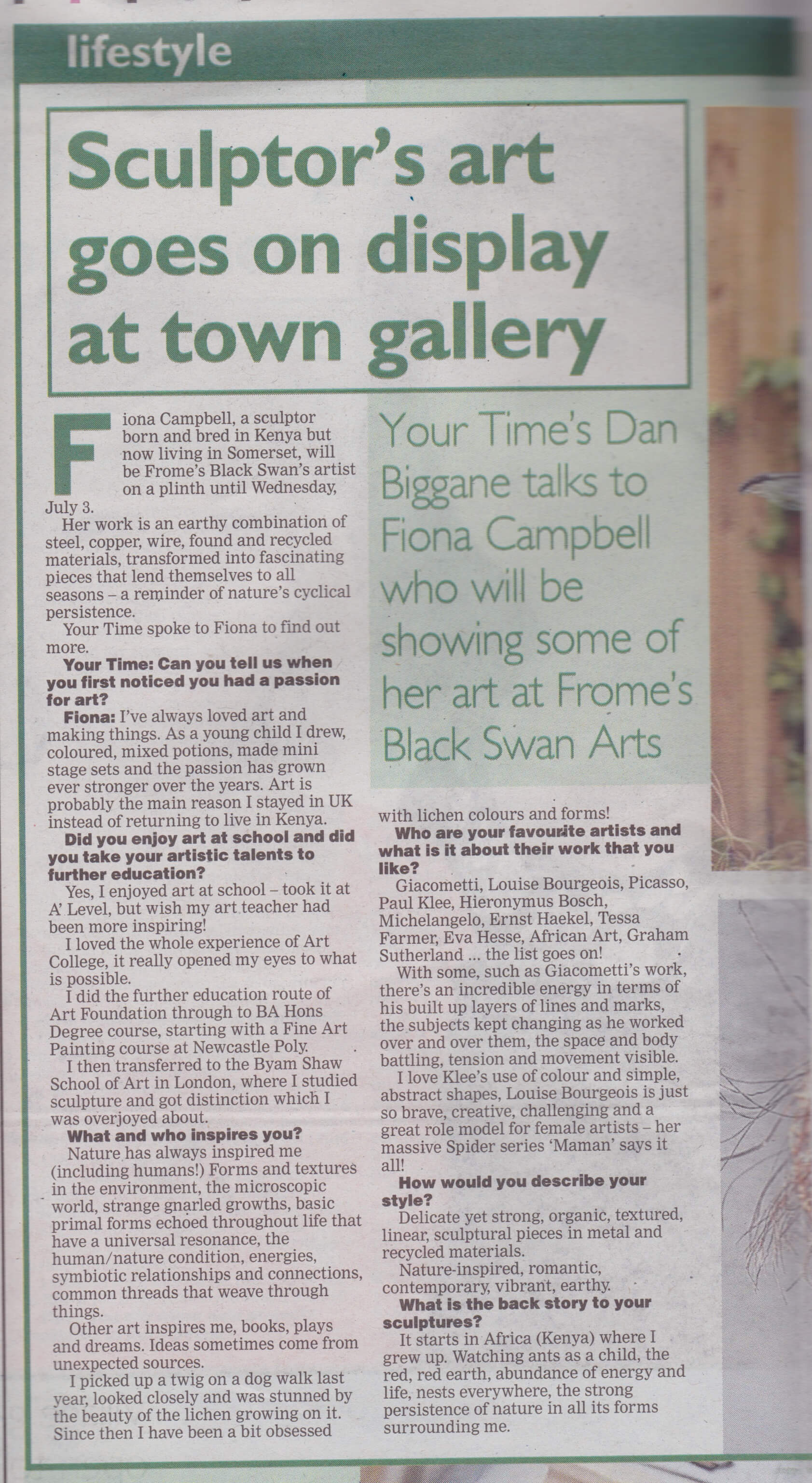 Artist on a Plinth article - Somerset Standard 1