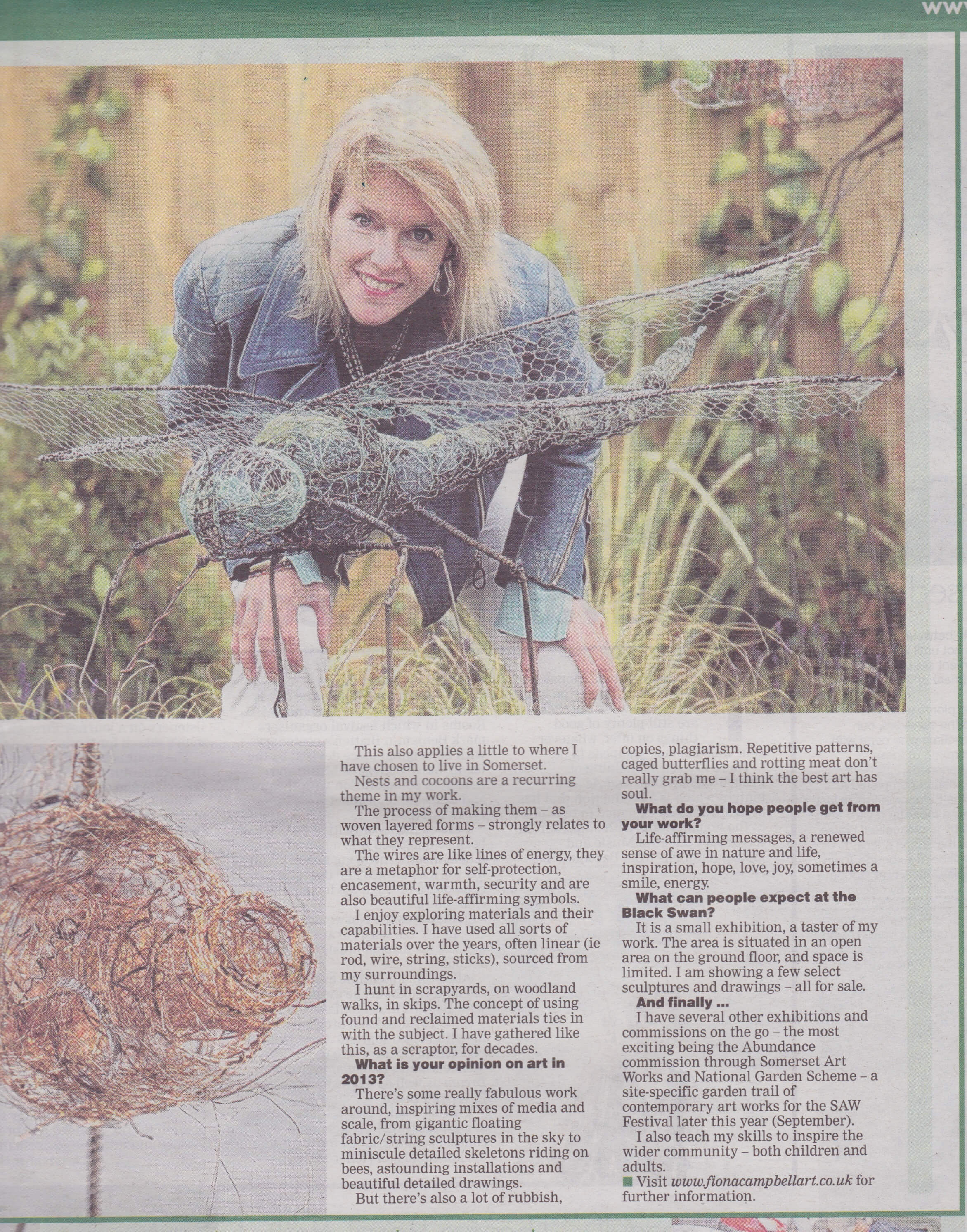 Artist on a Plinth article - Somerset Standard 2