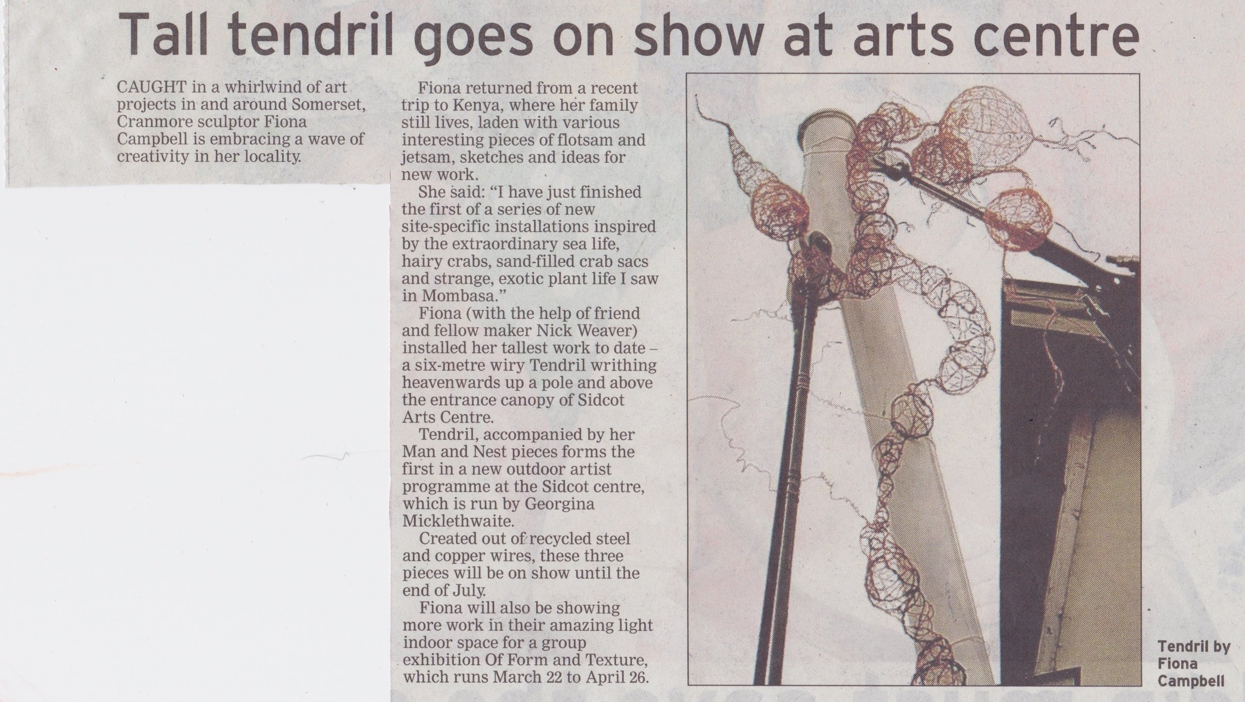 Wells Journal article - Tendril at Sidcot