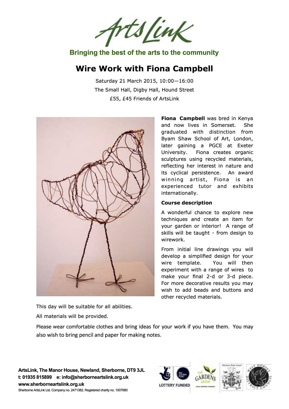 ArtsLink Spring Newsletter, Wire workshop