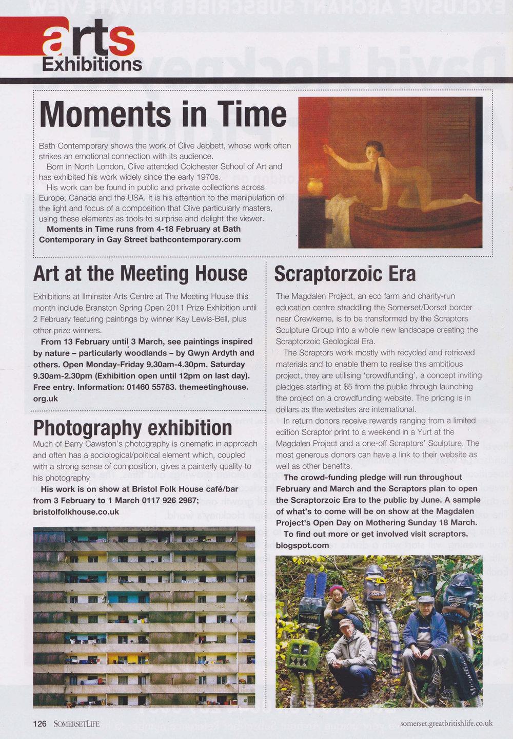 Somerset Life - Scraptors, crowd-funding for Magdalen Project, Feb '12