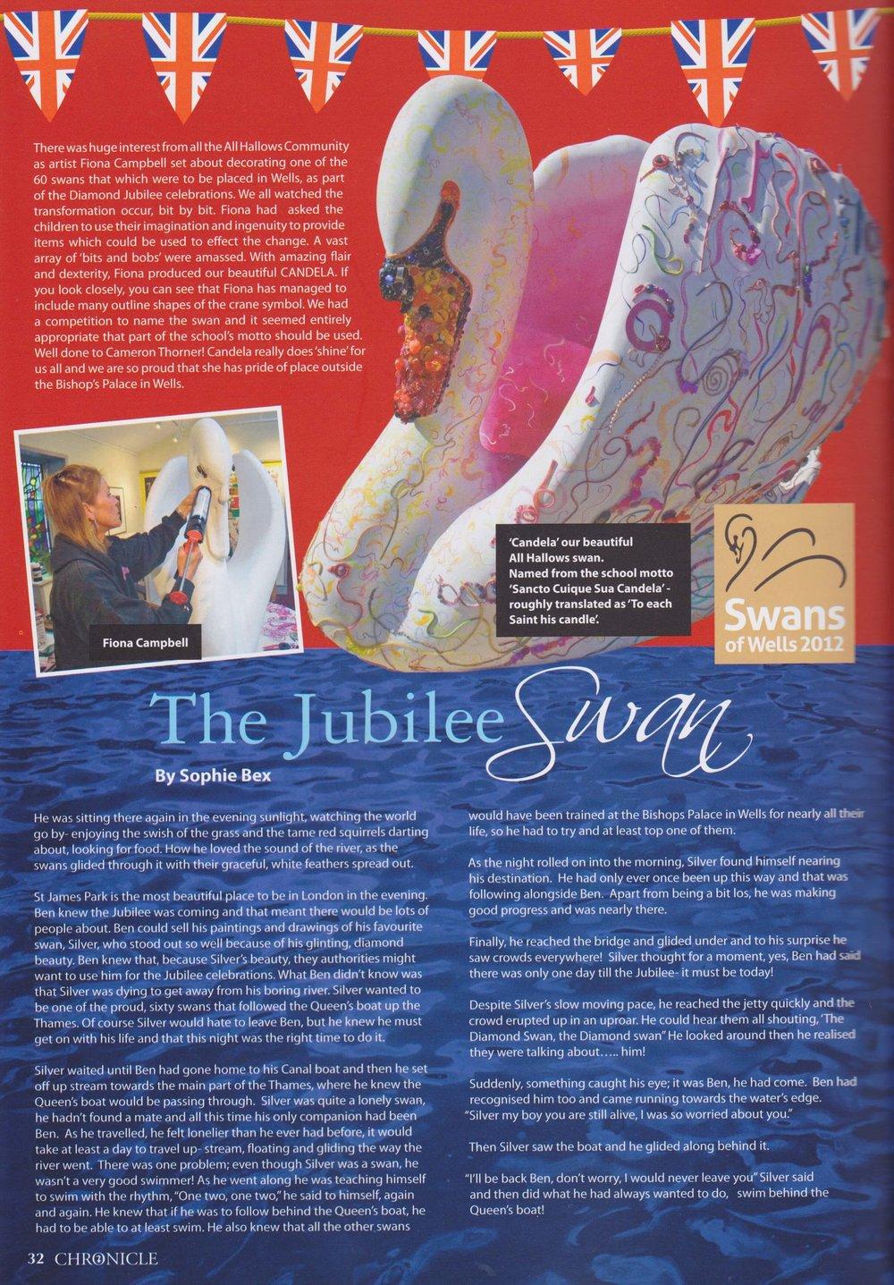 All Hallows Prep School Chronicle 2012 article - Candela Swan