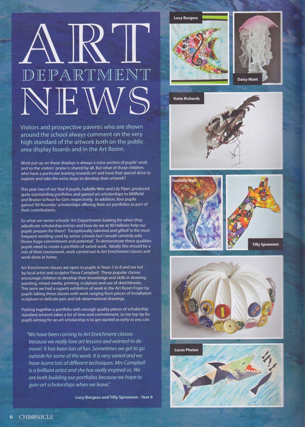 All Hallows Prep School Chronicle 2012 article - Extra Curricular Art