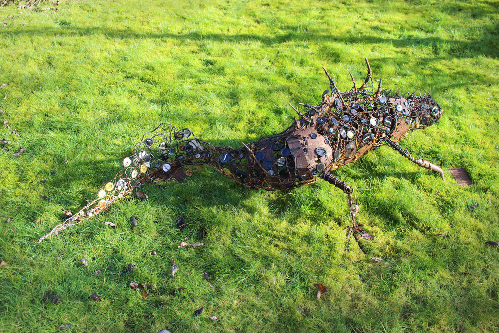 Great Crested Newt 168x90x46cms, recycled metal, bottletops, buttons & beads, Carymoor '19.jpg