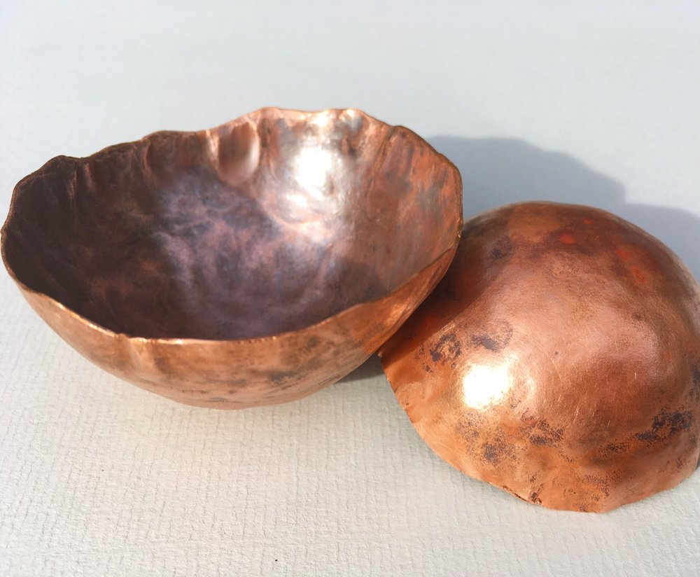 Hand beaten and annealed copper bowls.jpg