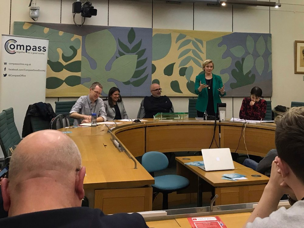 Stella Creasy MP, Lisa Nandy MP, and Caroline Lucas MP join Neal Lawson (Compass) and Prof Graham Smith (University of Westminster) to discuss the proposed citizens' assembly on Brexit (Westminster, 23 January 2019)