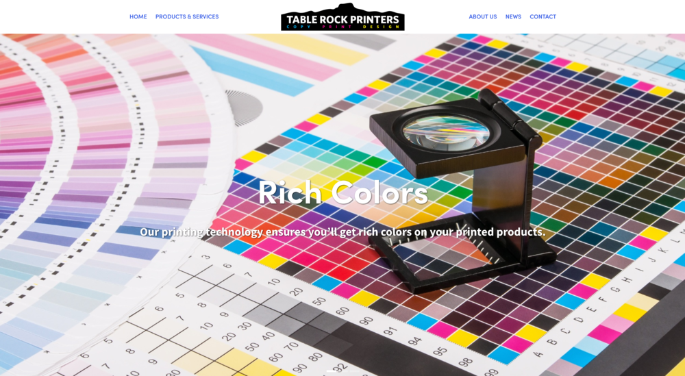Table Rock Printers new website homepage.