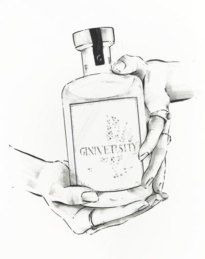 Hands holding gin bottle illustration