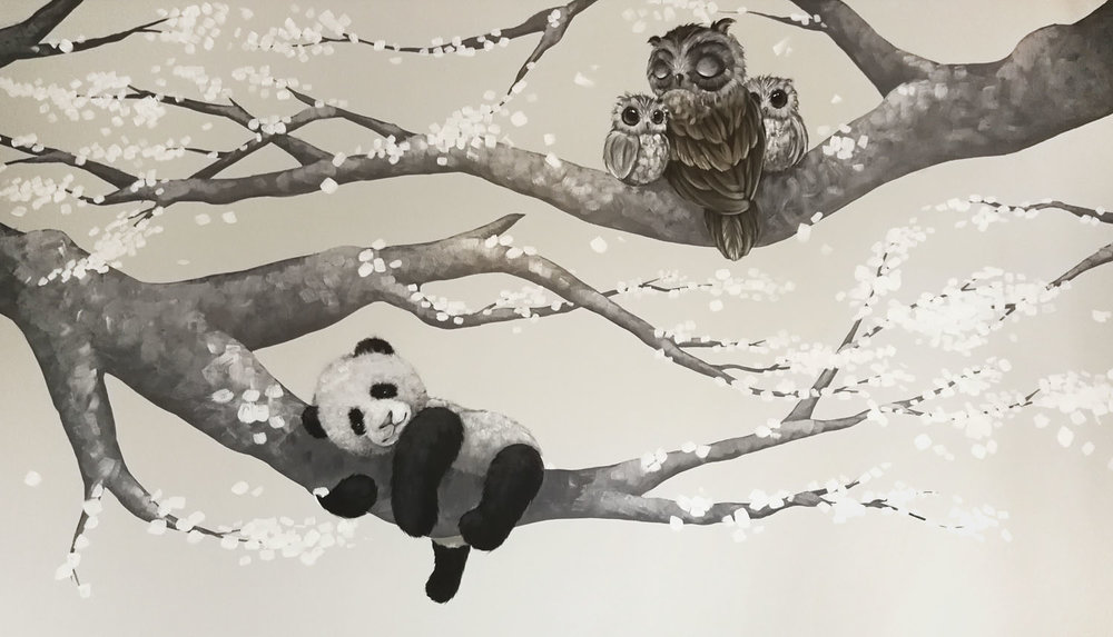Cherry blossom tree with panda and owls mural