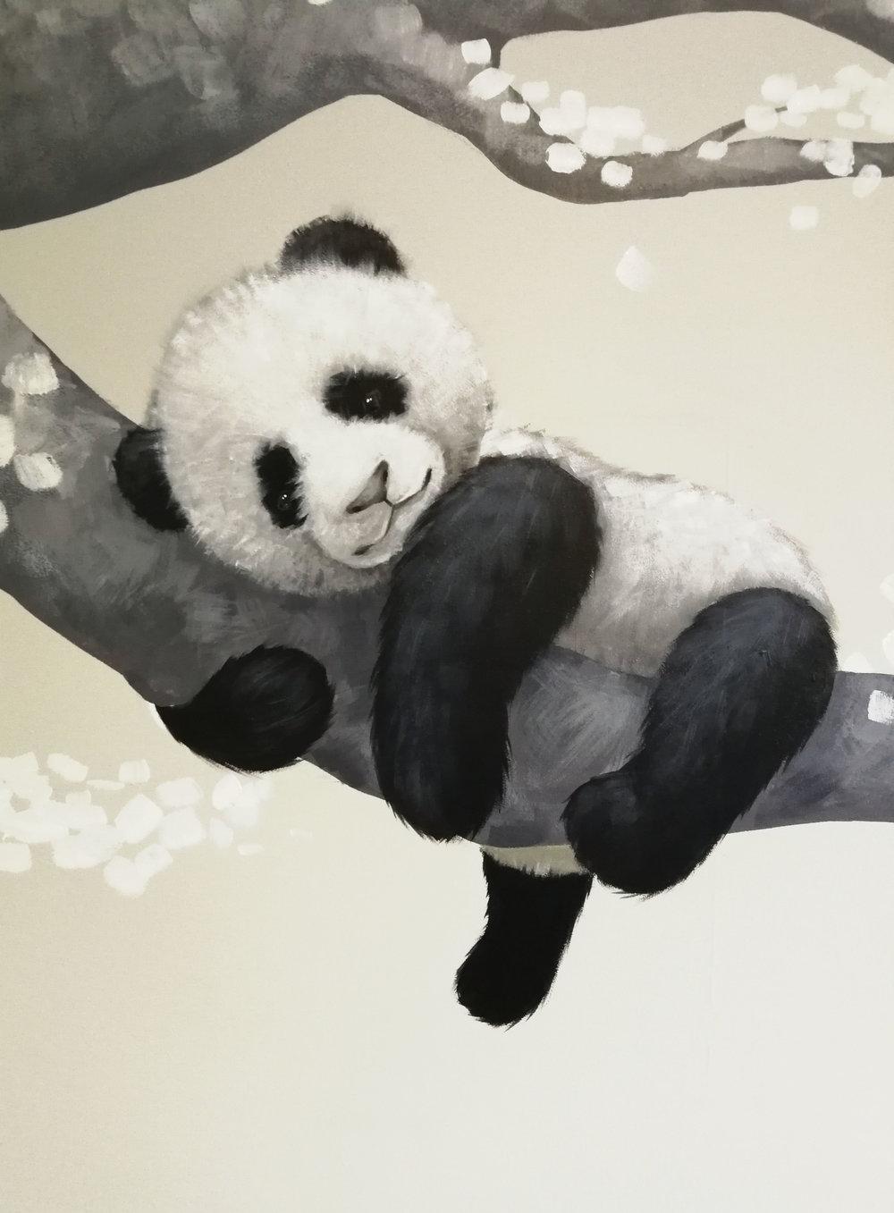 Panda on branch painting